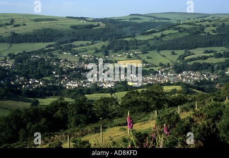 View of Llangollen from top of Dinas Bran, Denbighshire, Wales, UK - Stock Photo