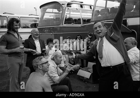 Works office factory party outing annual coach trip to the seaside Southend on Sea Essex England 1974. 1970s Uk - Stock Photo
