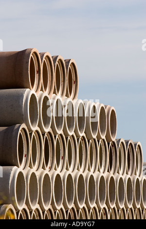 inventory of concrete elements for making drain pipes , sewer pipes , culverts and sewers - Stock Photo