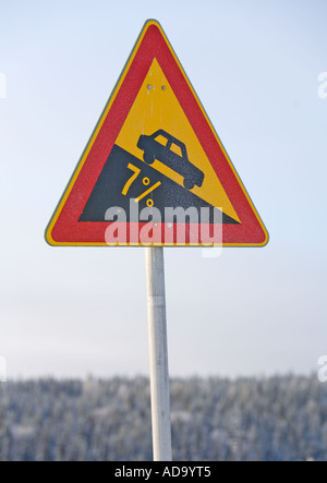 Finnish traffic sign warning about steep descent ( number 115. Dangerous descent ) - Stock Photo