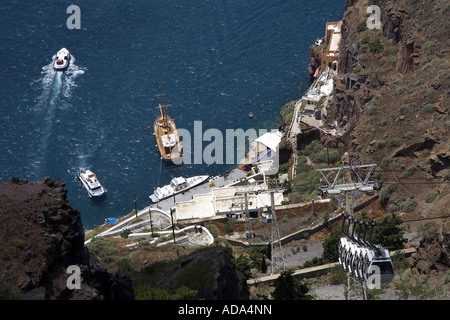 view over the old port, Greece, Santorin, Thira - Stock Photo