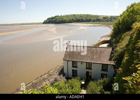 Wales Carmarthenshire Carmarthen Laugharne the Boathouse Dylan Thomas home - Stock Photo