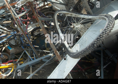 Scrap metal pile at a recycling center - Stock Photo