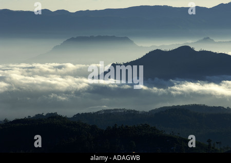 Nuwara Eliya hill station panoramic view - Stock Photo