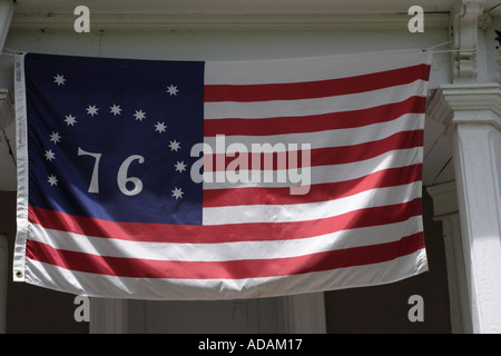 American flag Bennington 76 Flag flown at the Battle of Bennington only US flag that begins with a white stripe - Stock Photo