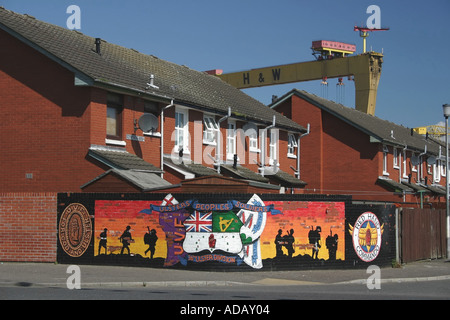 Loyalist murals in East Belfast - Stock Photo