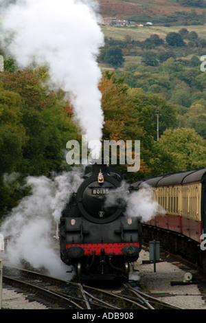 Steam Engine North Yorkshire Railway at Grosmont on the North Yorks Moors England UK - Stock Photo