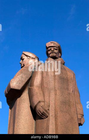 Riga Latvia Rifleman Statue - Stock Photo