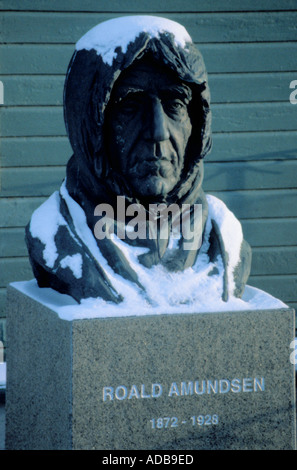 Bust of Roald Amundsen, Tromsø, Troms, Norway. - Stock Photo