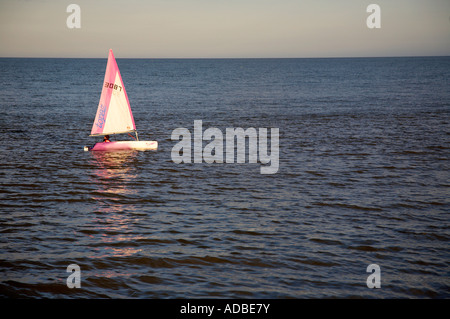 small pink and white topaz dinghy sail boat sailing across the water in evening sunlight reflecting in the water - Stock Photo