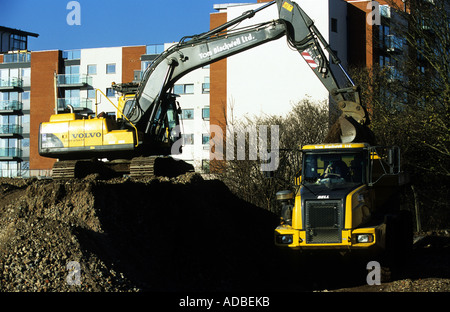 Brown field site being cleared for a housing development in Ipswich, Suffolk, UK. - Stock Photo