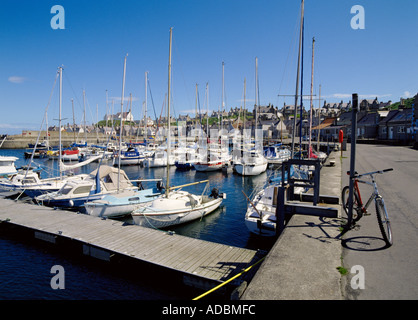 dh  FINDOCHTY MORAY Yachts in harbour bicycle and fishing village cycle parked scotland biking