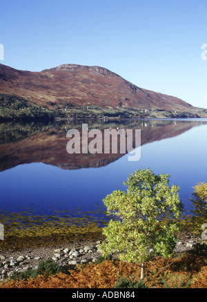 dh  LOCH BROOM ROSS CROMARTY Reflections of mountain and tree by lochside scotland tranquil autumn