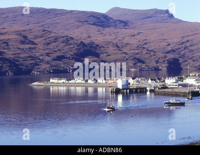dh Loch Broom scotland ULLAPOOL HARBOUR ROSS CROMARTY Fishing boat leaving town north coast 500 lochside