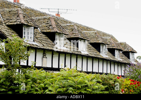 Row of black and white timber framed cottages at Pembridge Herefordshire England UK with dormer windows and stone - Stock Photo