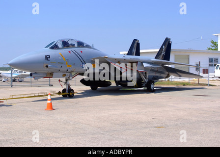 Grumman F-14 Tomcat Fighter Aircraft at Naval Air Station Wildwood Aviation Museum Cape May New Jersey United States - Stock Photo