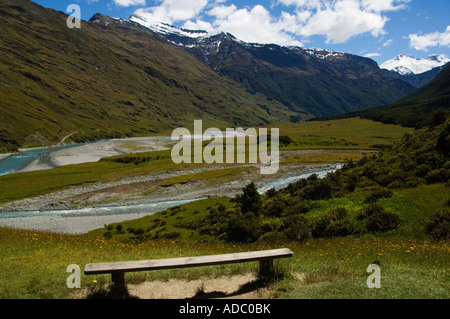 New Zealand South Island Mount Aspiring National Park A River on the Rob Roy Glacier Hiking Track - Stock Photo