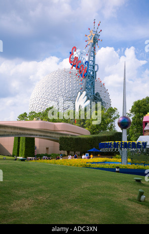 Spaceship Earth sphere at entrance to Epcot Center in Walt Disney World, Florida - Stock Photo