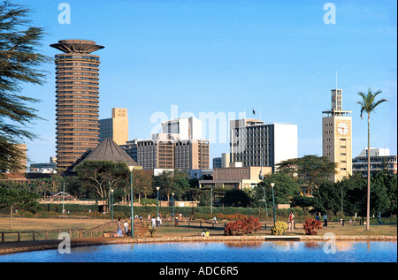 Nairobi city skyline seen from Uhuru Park Nairobi Kenya East Africa - Stock Photo
