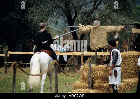 The knights tournament at the traditional historic recall of the Middle Ages, Sale Marasino, Italy - Stock Photo