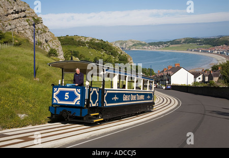 Tram on the Great Orme Tramway descending towards Llandudno Wales UK - Stock Photo