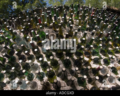 Centre for Alternative Technology green glass bottles recycling display. Machynlleth Powys North Wales UK - Stock Photo