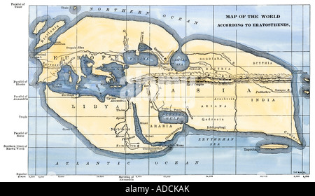Map of the world according to ancient Greek geographer Eratosthenes. Hand-colored woodcut - Stock Photo