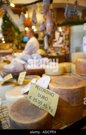 pecorino cheese on display in a shop in Norcia selling local produce Umbria Italy NR - Stock Photo