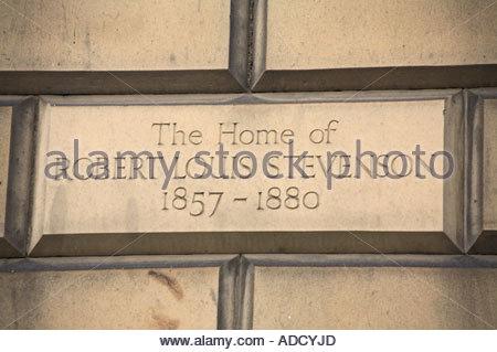 A plaque on the the wall of writer Robert Louis Stevensons house between 1857-1880, Edinburgh SCOTLAND - Stock Photo