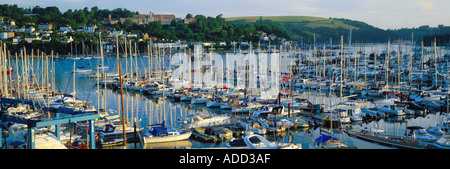 Yachts on the River Dart and the Royal Naval College Dartmouth Devon England UK - Stock Photo