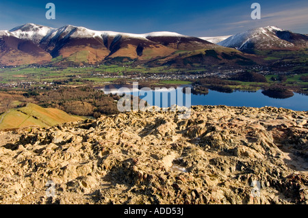 Skiddaw, Blencathra, Derwent Water and Keswick from summit of Cat Bells in winter, Lake District, Cumbria, England, - Stock Photo