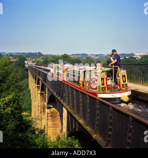 Traditional Narrowboat Crossing the Pontcysyllte Aquaduct on Shropshire Union Canal, Near Trevor, Vale of Llangollen, - Stock Photo