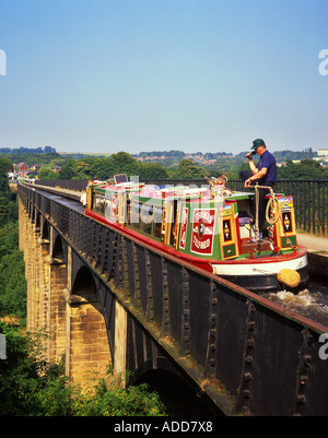 Traditional Narrowboat Crossing the Pontcysyllte Aqueduct on Shropshire Union Canal, Near Trevor, Vale of Llangollen, - Stock Photo