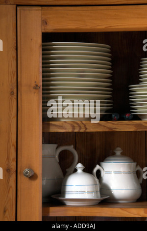 wood tableware cabinet - Stock Photo