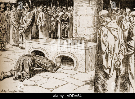 Penance of Henry II at the tomb of Thomas Becket. Henry II, 1133 – 1189, aka Henry Curtmantle, Henry FitzEmpress - Stock Photo