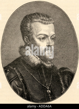 Philip II, 1527 - 1598.  King of Spain. From the portrait by Titian - Stock Photo