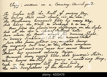 Portion of Grays Elegy in the poets handwriting - Stock Photo
