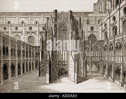 The Chapter House Old St Paul's Cathedral, London, England. After the engraving by Hollar - Stock Photo
