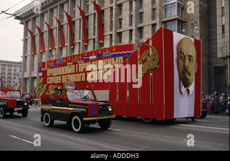Ukraine Revolution day parade in Kiev on 7th Nov 1989 with Lenin's portrait and flags of the 15 Soviet Socialist - Stock Photo