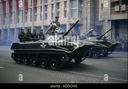 Ukraine Revolution day parade on a boulevarde in Kiev on 7th Nov 1989 Generals and armed soldiers travel on tanks - Stock Photo
