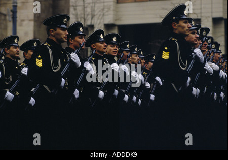 Kiev Ukraine Revolution day parade on a boulevarde in Kiev on 7th Nov 1989 Armed soldiers during the march past. - Stock Photo