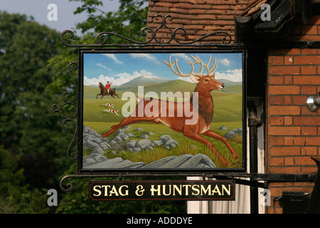 Hambleden The sign of the successful and popular Stag and Huntsman pub - Stock Photo