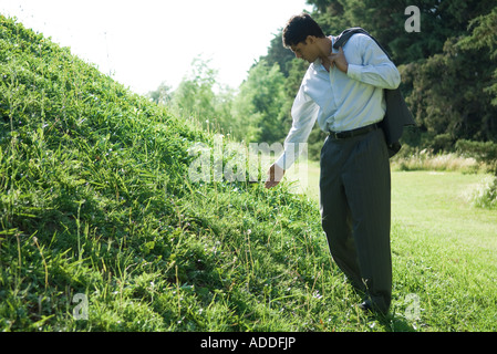 Businessman standing by grassy hill, holding out hand - Stock Photo