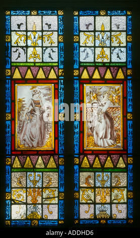 Decorative Stained Glass Hand Painted Victorian Women On Front Door