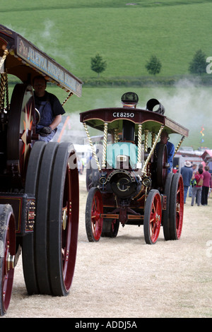 Vintage traction engines at a steam rally - Stock Photo