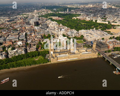 Aerial shot of Houses of Parliament - Stock Photo