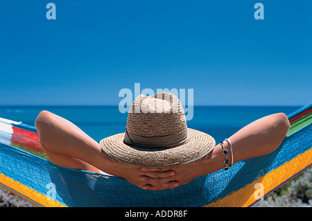Woman relaxing in a hammock, Relaxation, Holiday, South Australia, Australia - Stock Photo