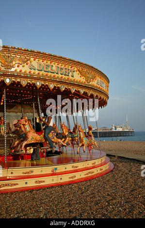Merry Go Round on Brighton Beach - Stock Photo