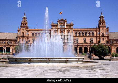 View of Plaza de España Parque de María Luisa Mary Louise Park Sevilla Seville Andalusia Andalucía España Spain - Stock Photo