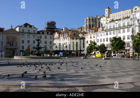 Rossio Square Dom Pedro IV King Peter Praca Pombaline Façade Lisbon capital Costa Lisboa Portugal Iberia Europe - Stock Photo